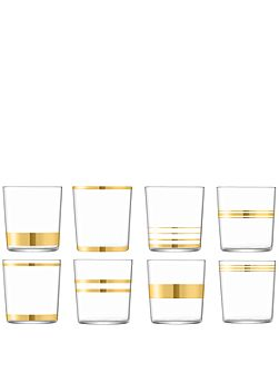 Deco tumbler 390ml gold assorted set of 8