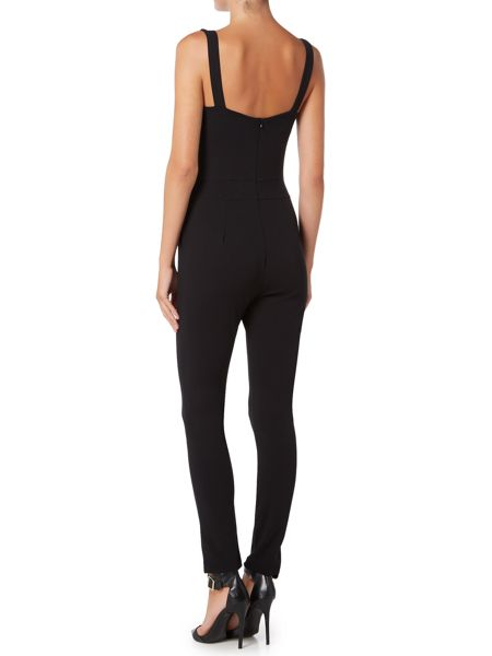 Wal-G Sleeveless Lace Panel Front Jumpsuit