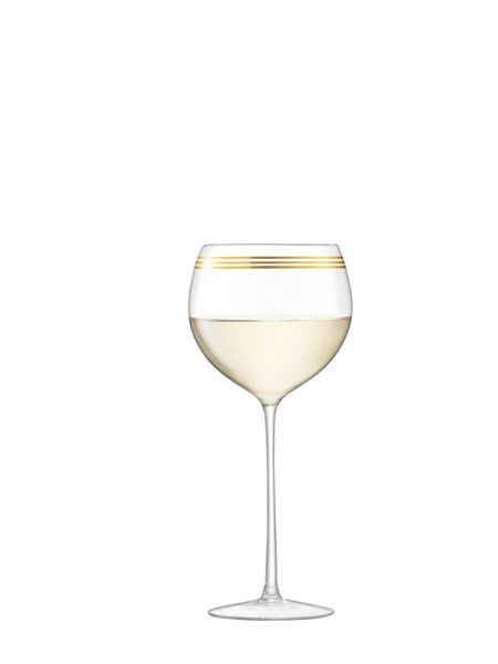 LSA Deco wine goblet 525ml gold assorted set of 8