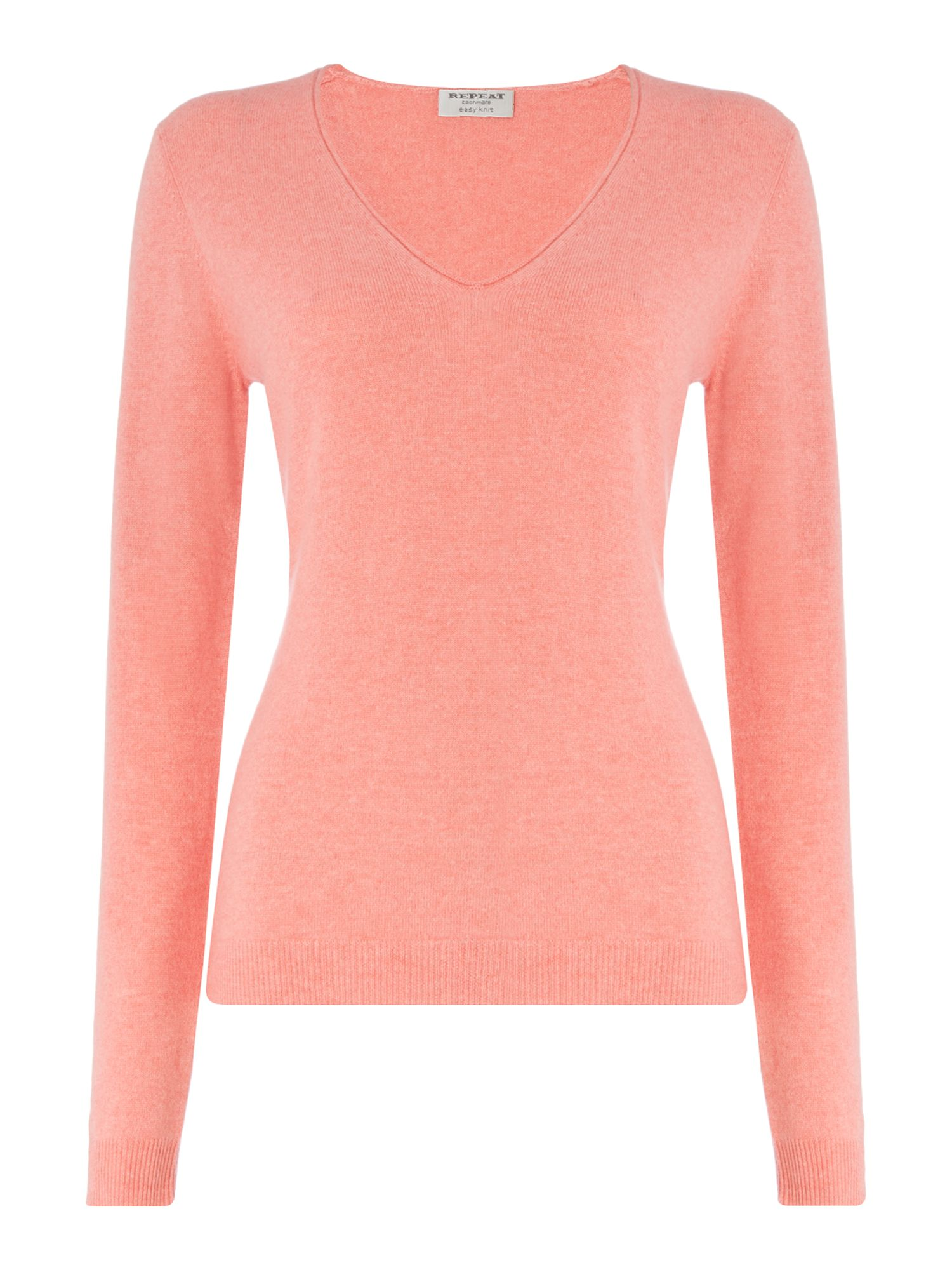 Repeat Cashmere Repeat Cashmere V-neck roll edged jumper, Coral