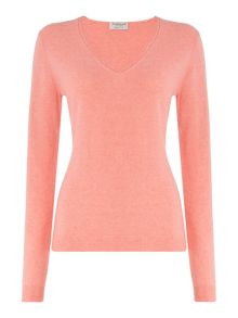 Repeat Cashmere V-neck roll edged jumper