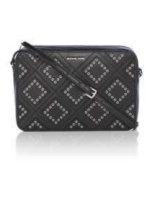 Michael Kors Jetset travel black diamond grommet crossbody bag