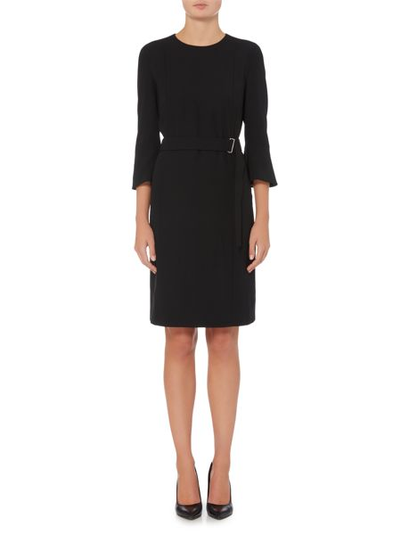 Hugo Boss Huliana Trumpet Sleeve Belted Dress