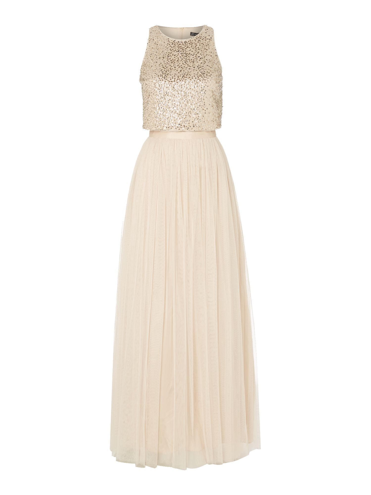 Adrianna Papell 2 Piece Sequin Top and Tulle Maxi Skirt, Nude