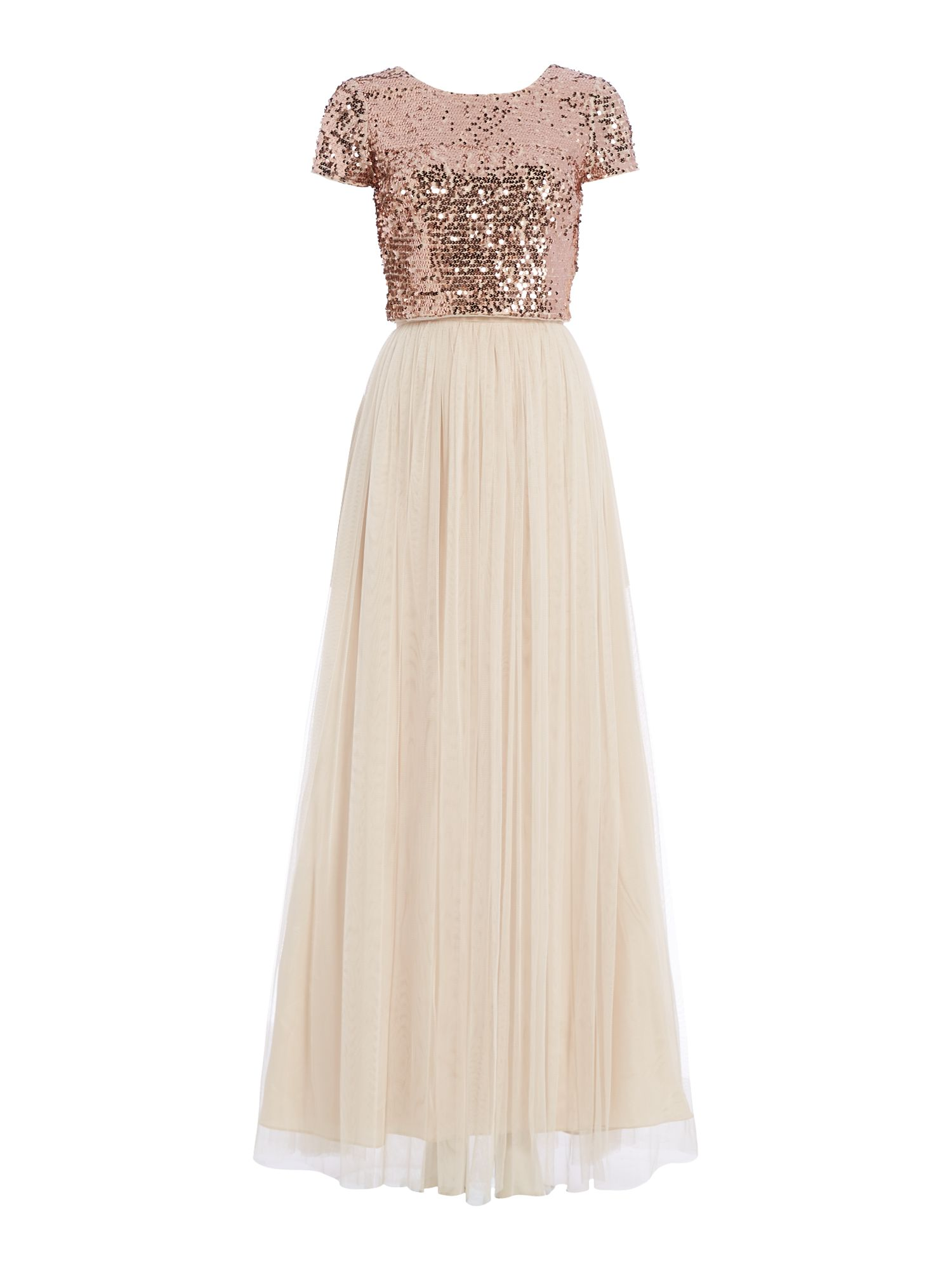 Adrianna Papell Sequin top and tulle maxi skirt, Rose Gold
