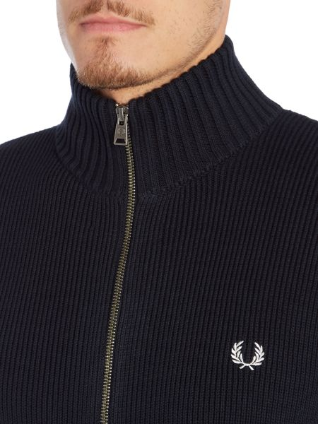 Fred Perry Ribbed Funnel Neck Zipped Cardigan