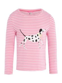Joules Girl`s Dog T-Shirt Long Sleeve Stripe