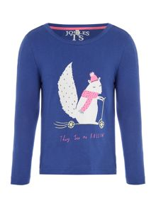 Joules Girl`s T-shirt Long Sleeve Squirrel
