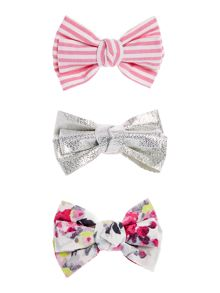 Joules Girls 3 Pack Bow Hair Accessories