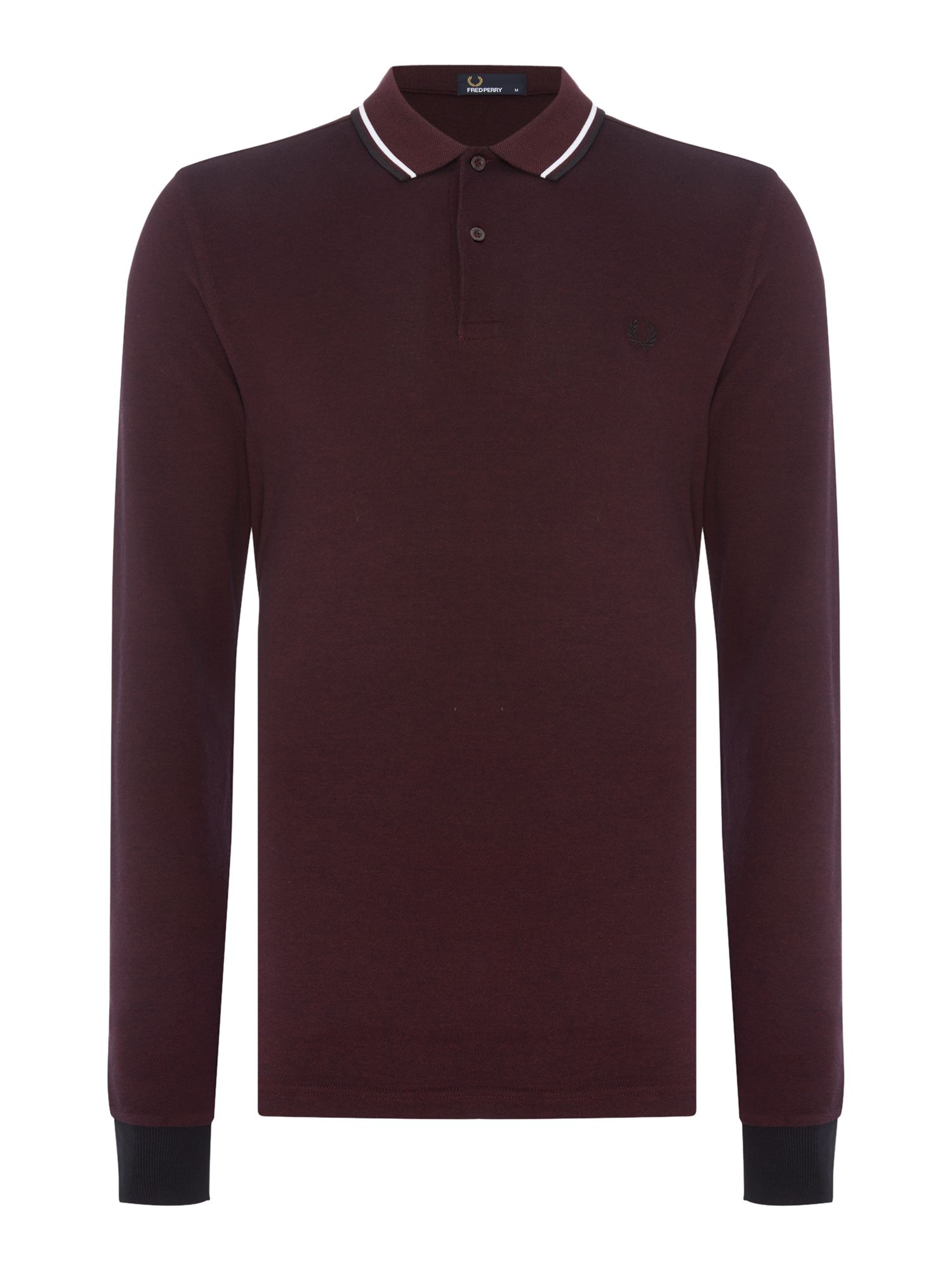 Mens Fred Perry Long Sleeve Twin Tipped Polo Shirt Mahogany