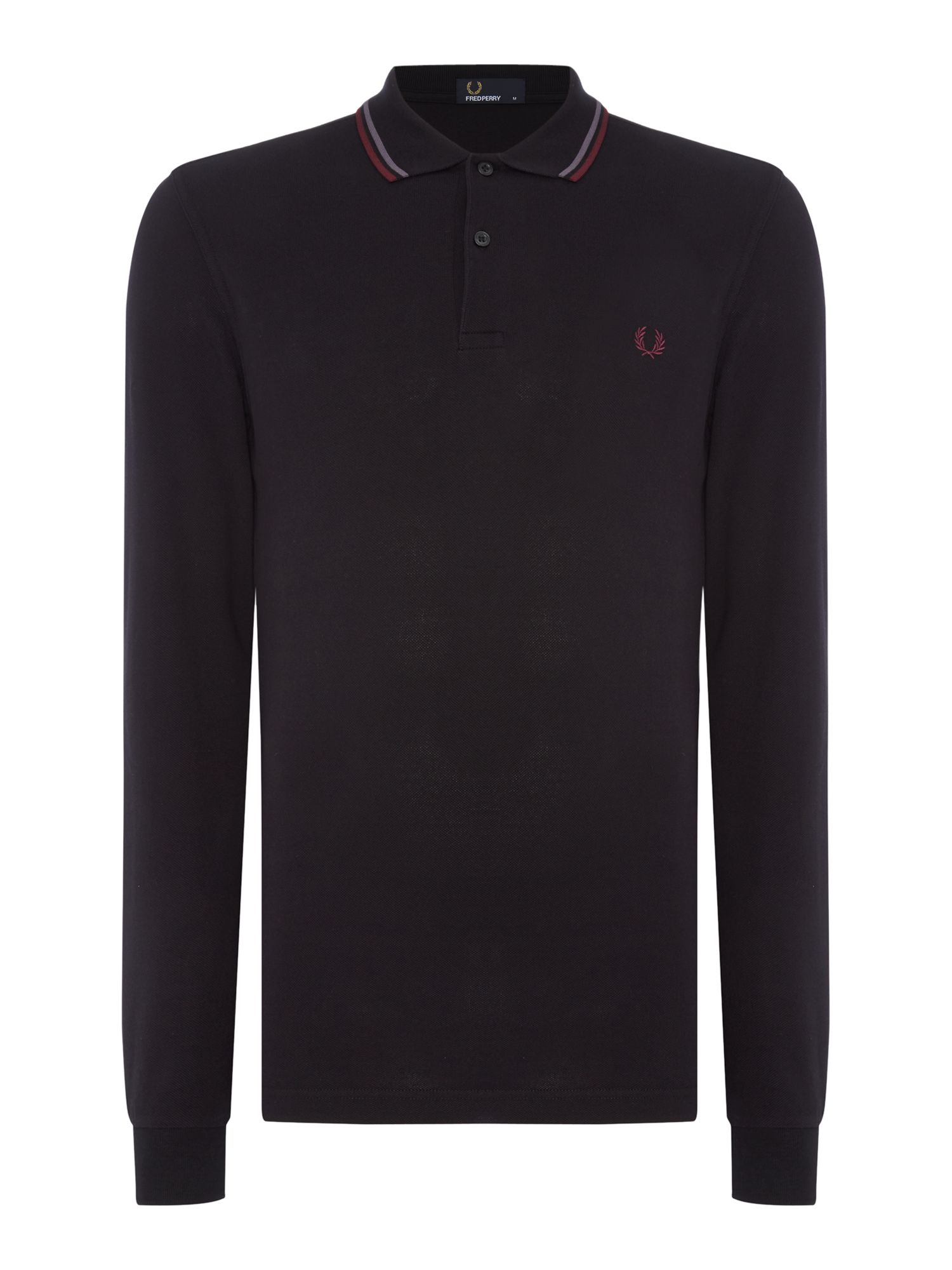 Mens Fred Perry Long Sleeve Twin Tipped Polo Shirt Black