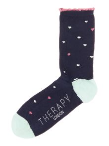 Therapy Lurex AOP hearts sock