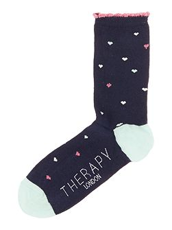 Lurex AOP hearts sock