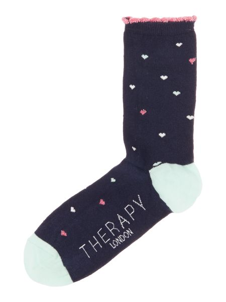 Therapy Metallic AOP hearts sock