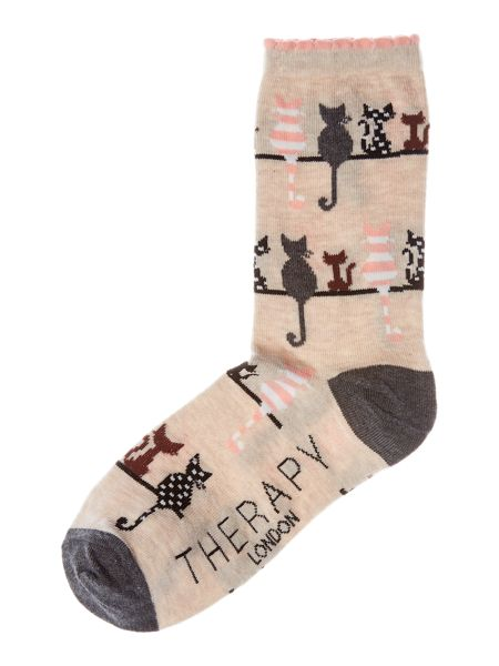 Therapy Cats on a line sock