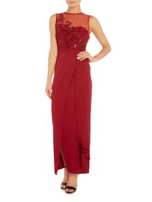 Little Mistress Short sleeve split maxi dress