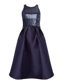 short sleeve overlay sequin skater dress