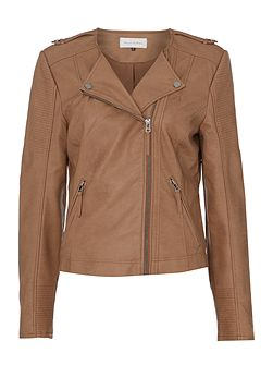 Wave Collarless Faux Leather Jacket