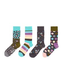 Happy Socks 4 Pair Pack Leopard Print Ankle Socks Gift Box