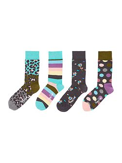 4 Pair Pack Leopard Print Ankle Socks Gift