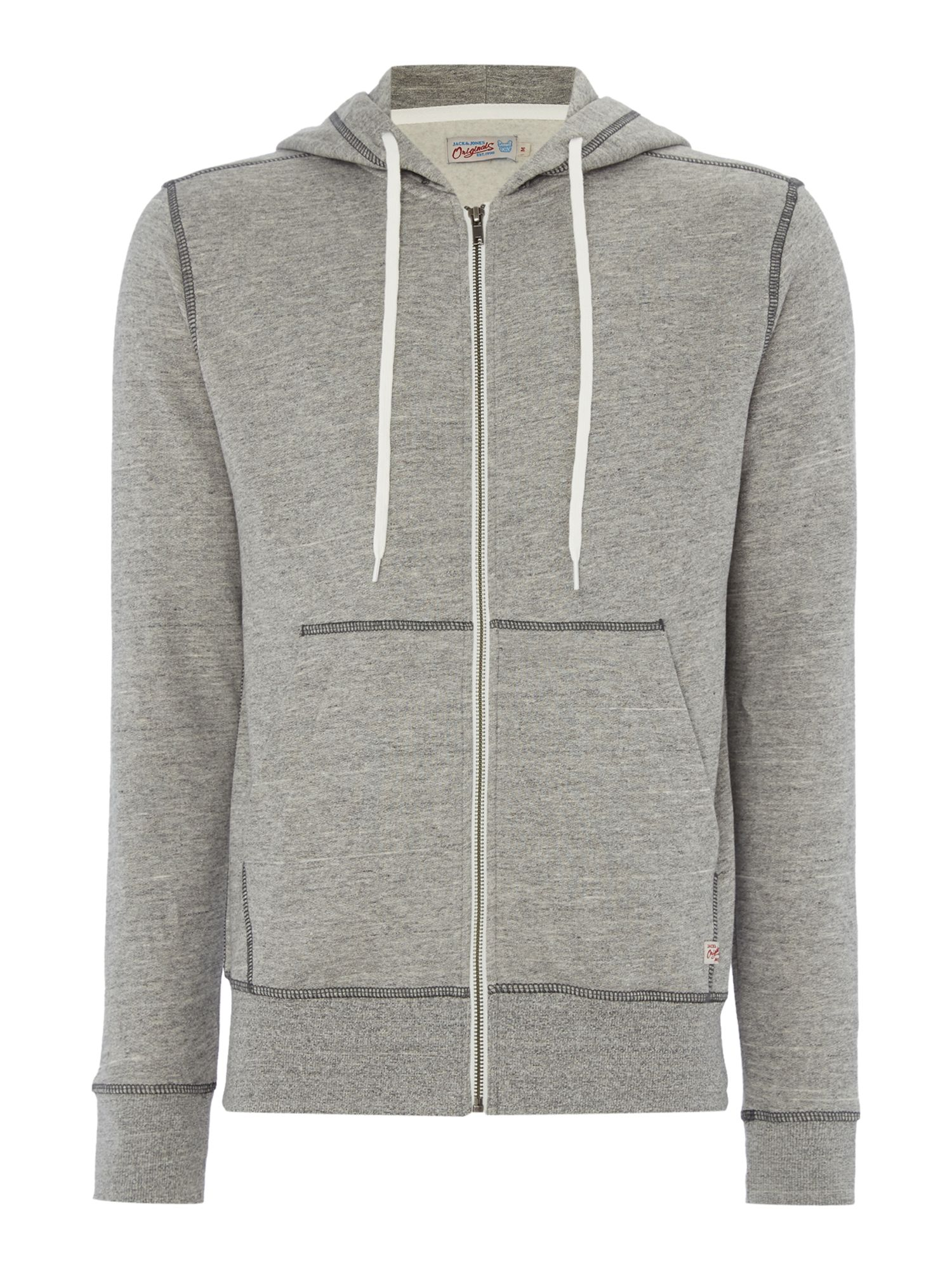 Men's Jack & Jones Hooded Zip-Through Jumper, Light Grey Marl