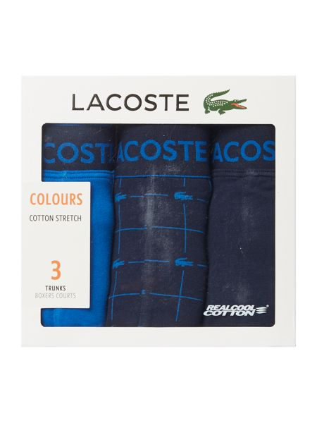 Lacoste 3 Pack Print and Plain Signature Trunks