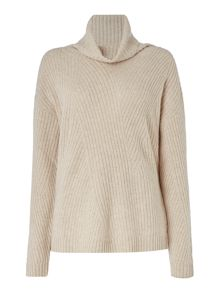 Repeat Cashmere Ribbed roll neck jumper