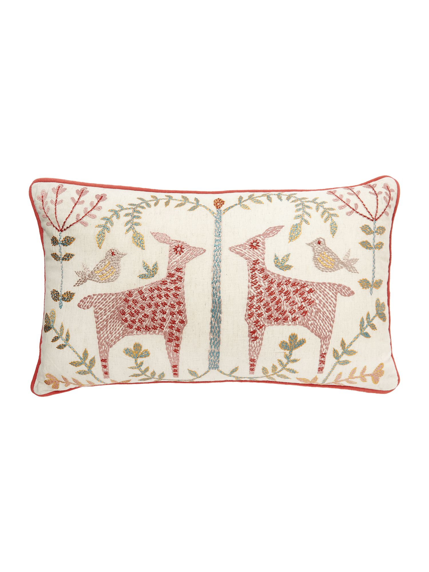 Linea caye mirage animal embroidered cushion red octer
