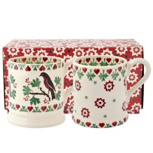 Emma Bridgewater Joy robin set of 1/2 pint mugs boxed