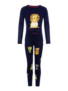 Joules Boys Jersey Long Sleeve Lion Pyjama Set