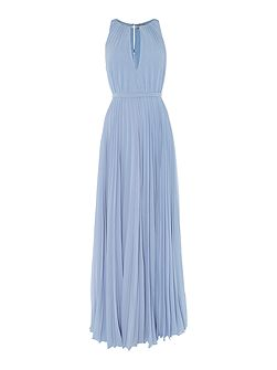 Fully pleated neck detail maxi event dress