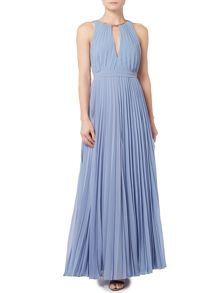 Biba Fully pleated neck detail maxi event dress