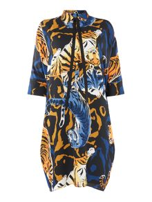 Biba Printed volume tie neck detail dress
