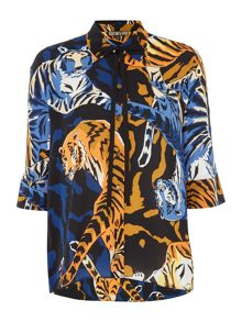 Biba Jungle print volume tie detail shirt