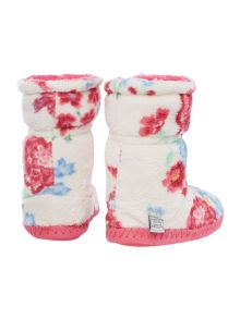 Joules Girls Floral Fluffy Slippers