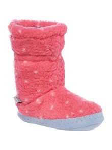 Joules Girls Fluffy Spotty Slippers