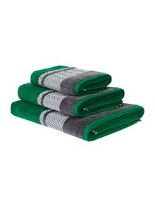 Living by Christiane Lemieux Zig Zag border emerald towel