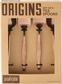La Cafetiere Origins set of 4 tea spoons, copper