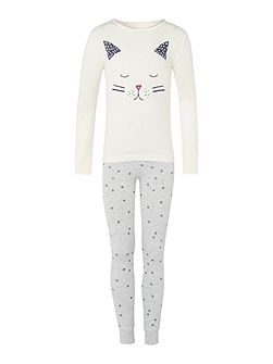 Girls Nightwear Cat Pyjama Set