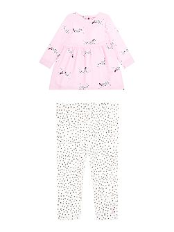 Girls Dalmation Dress and Legging Set