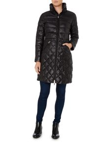 Lauren Ralph Lauren Long quilted coat with faux leather buckle detail
