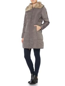 Lauren Ralph Lauren Graduated quilt coat with faux fur collar