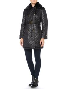 Lauren Ralph Lauren Soft quilted coat with faux fur collar