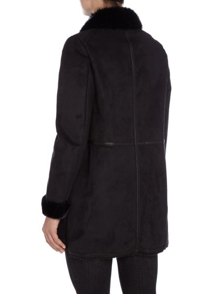 Lauren Ralph Lauren Faux leather trim coat with faux fur collar