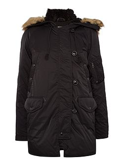 Down faux fur hood parka