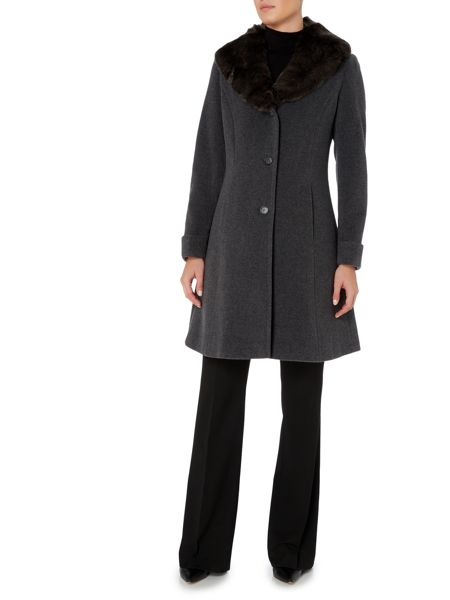 Lauren Ralph Lauren Fit and flare with faux fur collar