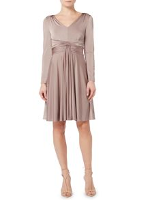 Biba Knot front long sleeve jersey dress