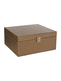 Textured leather jewellery box, large