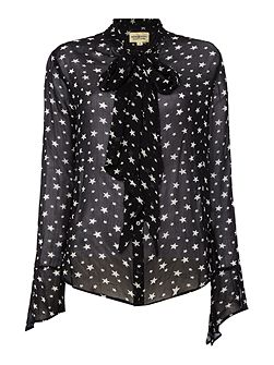 Printed blouse with tie neck detail