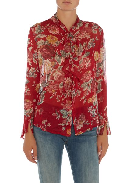 Denim and Supply Ralph Lauren Printed blouse with tie neck detail